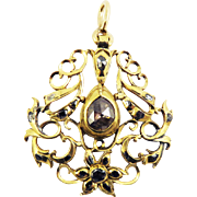 SO ROMANTIC Early Georgian 1.08 Ct. TW Rose- and Table-Cut Diamond/20k Pendant, c.1740!