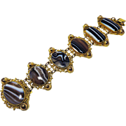 OUTSTANDING Late Georgian Banded Agate/Pinchbeck Bracelet, c.1830!