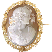 RAVISHING XL Georgian Cameo of a Bacchante in 15k Cannetille Brooch, c.1815!