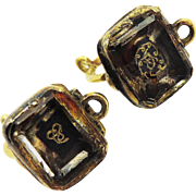 INCREDIBLY RARE Pair of Original Stuart Crystal/20k Earrings w/ Gold Foil, Hair, and Cyphers, c.1705!