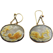 PHENOMENAL Neoclassical Oyster Shell/15k Cameo Earrings, Eros in a Chariot Pulled By Dolphins, c.1800!