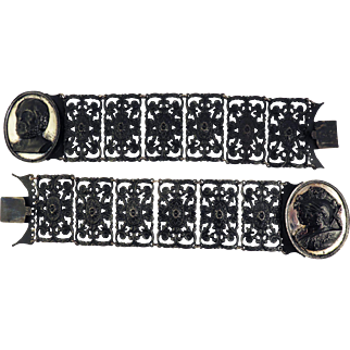 "RARE PAIR of Berlin Ironwork Bracelets, Convertible to 14 1/2"" Choker, c.1815!"