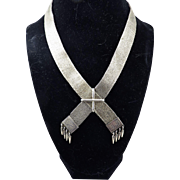 "FANTASTIC High Victorian 20"" Sterling Silver Mesh Adjustable ""Ribbon"" Collar, c.1855!"