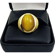 "CLASSIC Unisex 11.41 Ct. ""Milk and Honey"" Chrysoberyl Cat's Eye/14k Ring w/$9,750.00 GIA Appraisal, c.1960!"