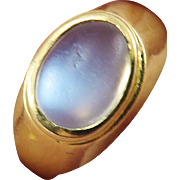 LOVELY Edwardian Danish Blue Moonstone/18k Ring by Johan Svensson, Hallmarks, 1903!