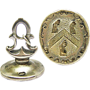 JANE AUSTEN INTEREST: Silver Armorial Fob Seal, Sir Robert Austen of Heronden, Hall Place and Boxley Abbey, Baronet, c.1765!