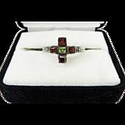 "INTRIGUING Tudor Revival Sterling/Peridot/Garnet Victorian POSY Ring, ""Where Hearts Agree, God Will Be,"" c.1895!"