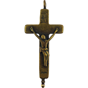 BEAUTIFUL Carmelite Bronze Reliquary Crucifix w/Original Contents, c.1725!