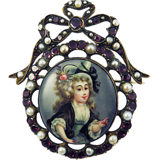 EXQUISITE Georgian Enamel on Copper of a Lady of Fashion Set in Garnet/Pearl Bow-Motif Brooch, c.1775!
