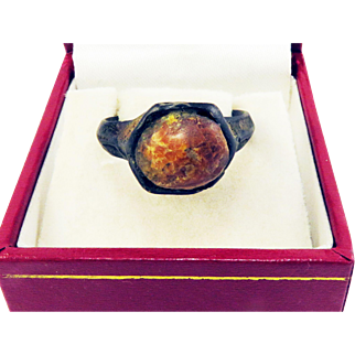 MARVELOUS & RARE Unisex Medieval Baltic Amber/Gilt Bronze Ring, c.1400!