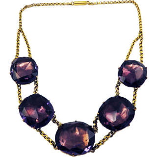 JUST FABULOUS Queen Anne Rose-Cut Amethyst Paste/Gilt/9k Necklace, c.1745/1810!