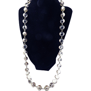 "MAGNIFICENT 30"" Edwardian ""Pools of Light"" Undrilled Rock Crystal/Sterling Necklace w/Floral Bezels, c.1905!"