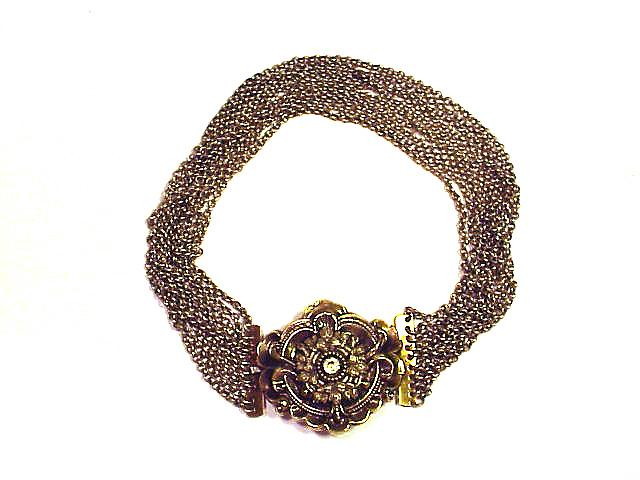ROMANTIC Silver Gilt/Paste 10-Strand Choker Necklace, c.1840!