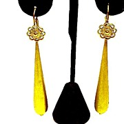 DRAMATIC Silver Gilt Day/Night Drop Earrings, c.1830!