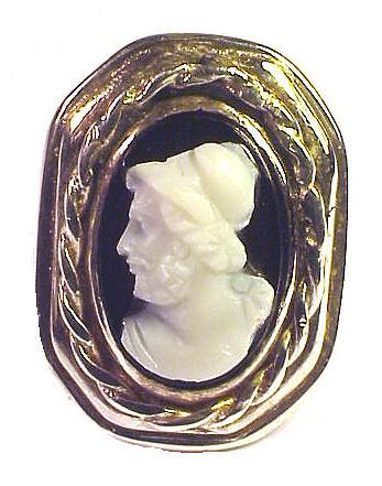 FINE BARGAIN Victorian Silver/Black Onyx Cameo Ring, c.1890!