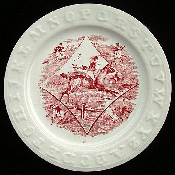 Red Alphabet ABC Plate ~ Horse & Rider 1850