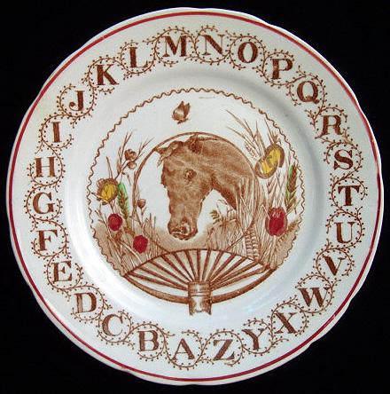 Brown Transferware ABC Plate ~ HORSE 1890