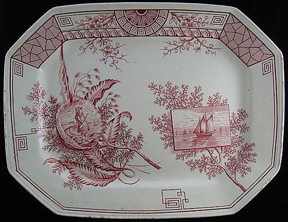 Large Red Transferware Platter ~ SEAWEED 1884