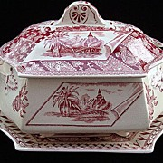 Red Transferware Aesthetic Tureen & Stand ~ Canterbury 1883