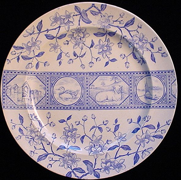 Aesthetic LAMB Blue Transferware Plate ~ Atlantic 1883