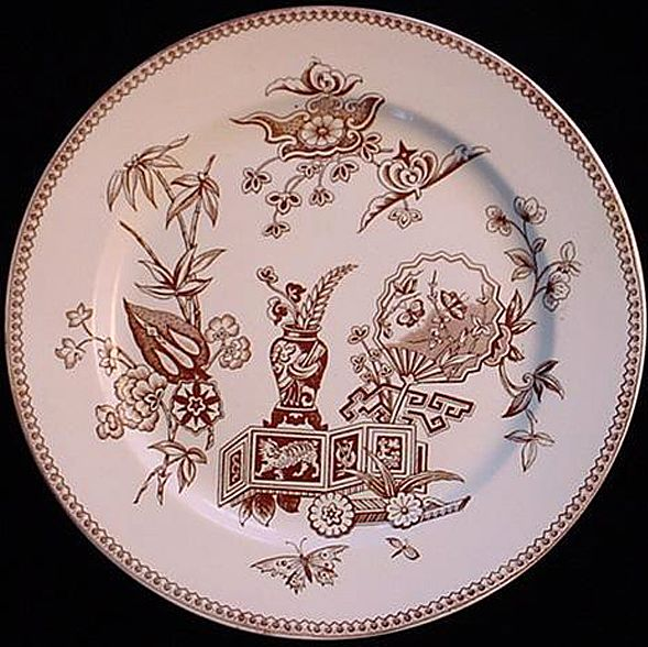 Brown Transferware Oriental Cat Plate ~ 1878
