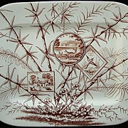 Large Aesthetic Transferware Platter ~ Deer 1883