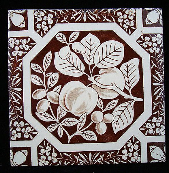 Brown Aesthetic Movement Tile ~ PEACHES 1880