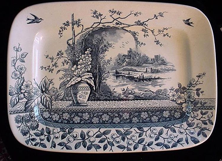 Blue Aesthetic Movement Platter - Rustic 1886