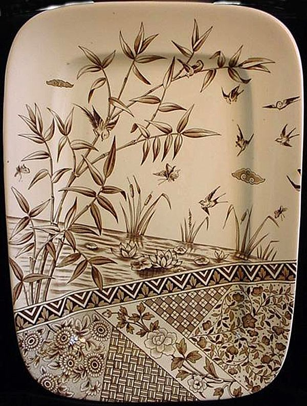 Large Brown Transferware Platter ~ Burmah 1883