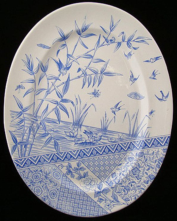 Rare Oval Blue Transferware Platter ~ BURMAH 1883