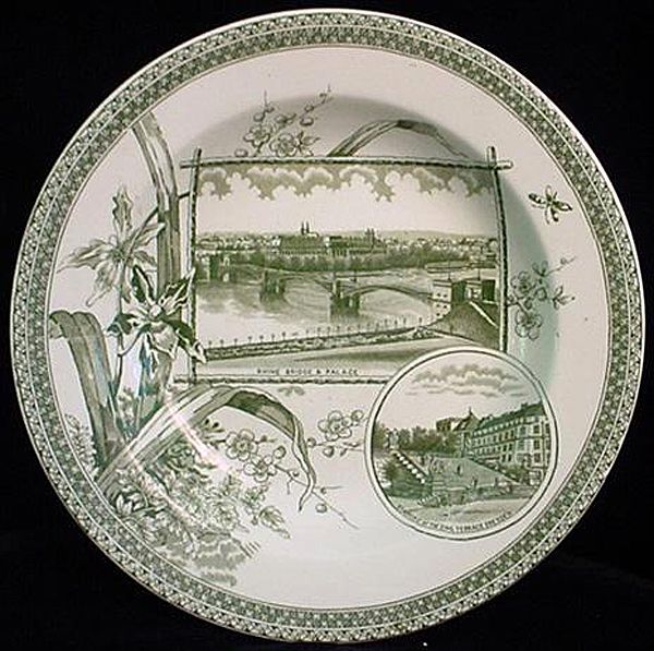 Rare Green Transferware WORLD Plate 1884