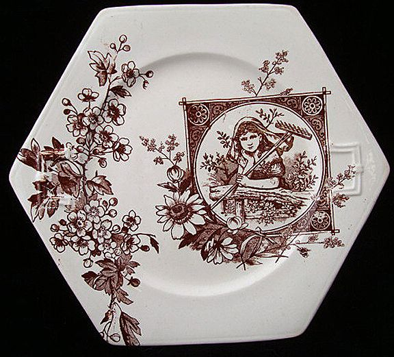 Brown Transferware Cake Plate ~ Garden Dreams 1885