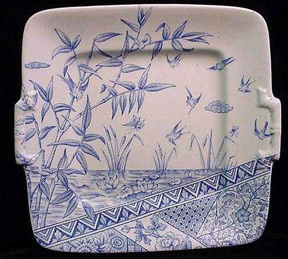 Aesthetic Blue Transferware Cake Plate ~ BURMAH 1883