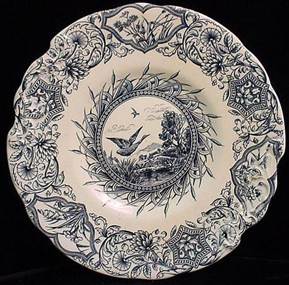 Aesthetic Blue Transferware Cake Plate ~ Geese 1883