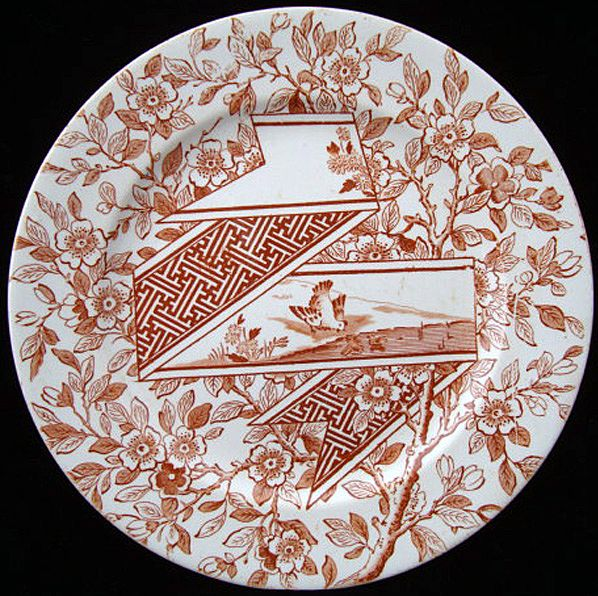 Rare Brown Transferware Plate ~ Prairie Hen & Chicks 1888