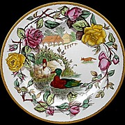 Wedgwood Polychrome Rack Plate ~ Game Birds DUCKS 1903