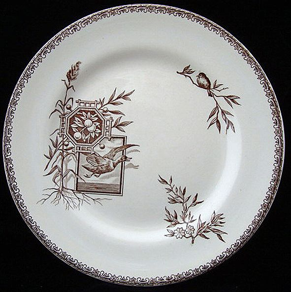 Brown Transferware Plate ~ DUCK in FLIGHT 1880