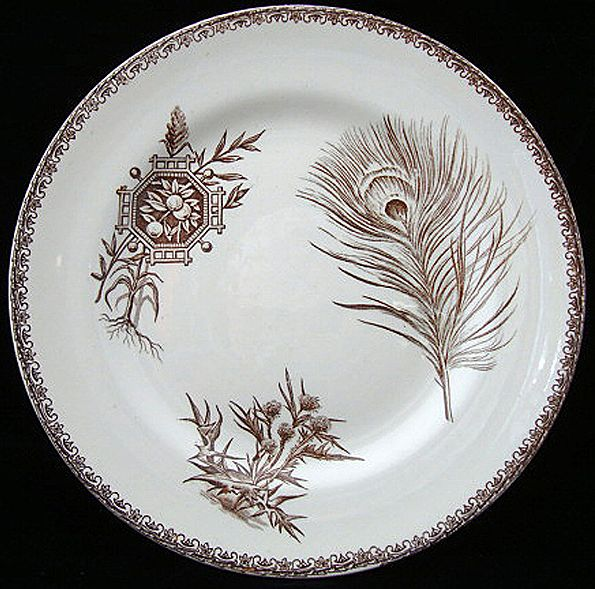 Brown Transferware Plate ~ THISTLE & FRUIT 1880