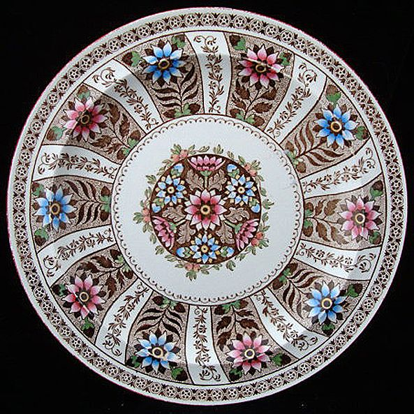 Polychrome Wedgwood Cabinet Plate ~ CLEMATIS 1863