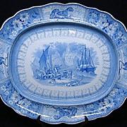 "Huge 22"" Staffordshire Historic Transferware ARCTIC SCENERY Platter 1835"