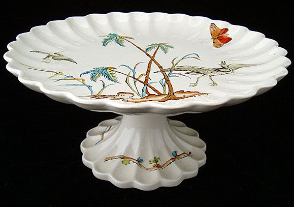 Victorian Tall Cheese Stand ~ Copeland Egrets 1878
