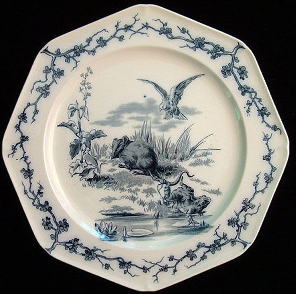 Fontaine's Fables ~ Rat & Frog Plate 1880