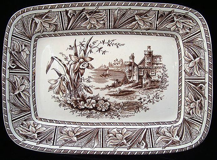 Brown Transferware Aesthetic Platter ~ DAFFODIL 1882