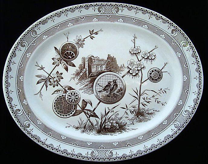 Spectacular Brown Transferware Platter ~  PAVIA 1881