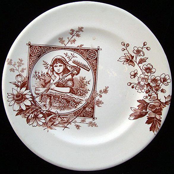 English Brown Aesthetic Plate ~ GARDEN DREAMER 1885
