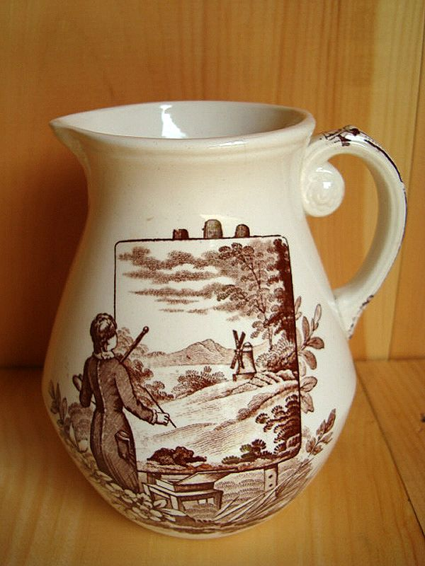 Aesthetic Transferware Pitcher ~ YOUNG ARTIST 1880