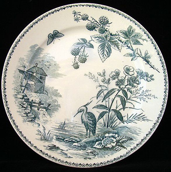 English Transferware Plate ~ Heron & Berries 1887