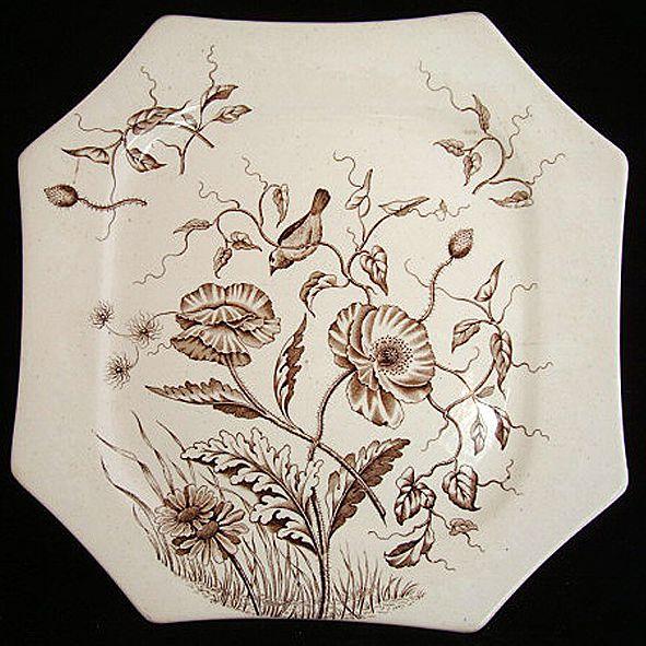 Victorian Brown Transferware Plate ~ BLOOM ~ 1884