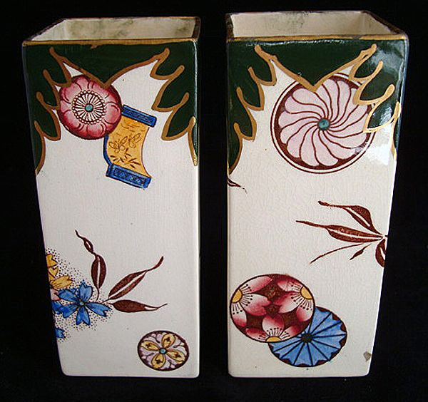 English Hand Decorated Victorian Vases ~ 1880