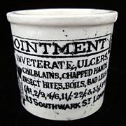 Quack Medicine ~ Chilblains & Bad Legs Ointment Pot ~ 1880